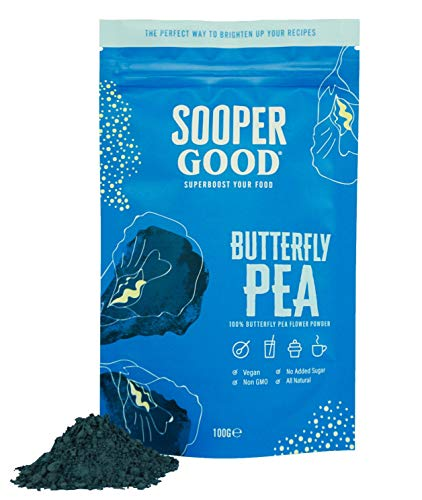 Butterfly Pea Flower Powder (100g) by Soopergood - Blue Matcha Tea - 100% Pure - No Added Sugar - Vegan - Natural Blue Food Colouring