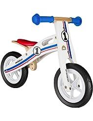 BIKESTAR® Original Premium Kinderlaufrad für kleine Abenteurer ab 2 Jahren ★ 10er Natur Holz Edition ★ Weiß Blau Rotes Rallye Design