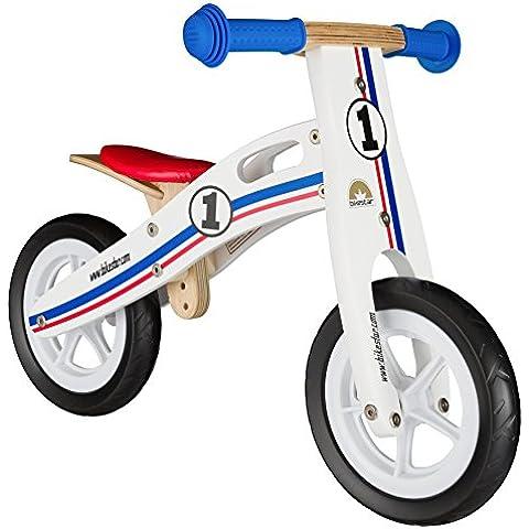 BIKESTAR® 25.4cm (10 pulgadas) Bicicleta sin pedales para pequeños aventureros a partir de 2 años ★ Edición de madera natural ★ Blanco