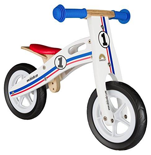 Bikestar Vélo Draisienne Enfants en Bois pour Garcons et Filles DE 2-3 Ans ★ Vélo sans pédales évolutive 10 Pouces ★ Blanc Bleu Rouge Tricolore