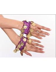 la danse du ventre bracelet de chaîne de main bijoux à la main bracelets avec des pièces de couleur or (la paire) en pourpre NOUVEAU