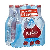Monviso Sparkling Natural Mineral Water, 1 Liter - Pack of 6