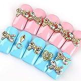 wuhenll 10Pcs/lot 3D Alloy Bow-knot Design Nail Art Rhinestone Nails Art Decorations Glitter