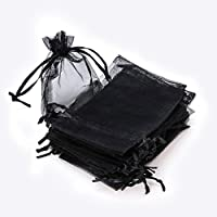 RUBY - 50 Piezas Bolsas de Organza para Fiesta de Boda / 9cm x 12cm / Saquitos / Bolsitas Regalo Joyeria ENVIO DESDE ESPAÑA (Negro)