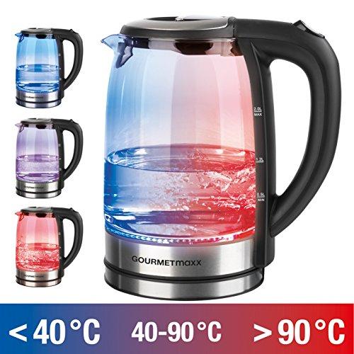 GOURMETmaxx 08107 Glas-Wasserkocher mit LED-Farbwechsel | Abschaltautomatik & Trockenschutz | 2 Liter | 2.200 Watt | Silber-Schwarz