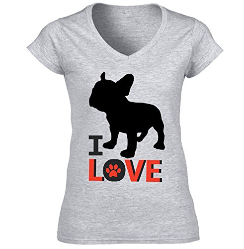 teesquare1st French Bulldog - I Love Camiseta para Mujer de Algodon Size Small