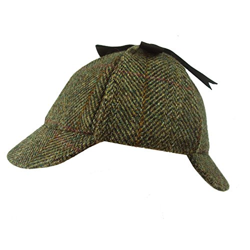 Failsworth, Sherlock-Holmes-Mütze, Deerstalker-Hut aus Harris Tweed, grünes Muster, 2013 Gr. X-Large, Pattern 2013