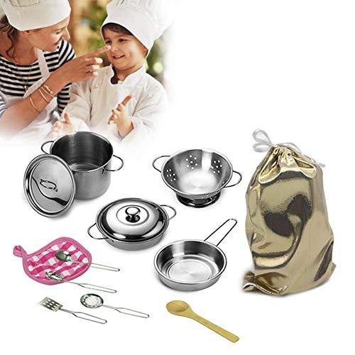12 Stücke Edelstahl Mini Kitchen Toys Sets mit Schöne, Töpfe und Pfannen Set, Pretend Play Kitchen Set für Kinder. (Set Topf Und Pfanne Play)