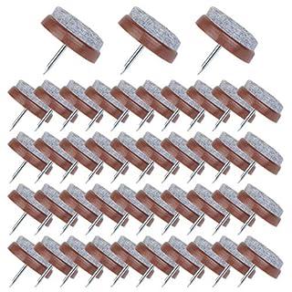 Flying swallow 50 Stück Filzgleiter nagel(Ø 24 mm) Parkettgleiter, Möbelgleiter, Stuhlgleiter mit Kratzschutz, Geeignet für Parkett und Alle Anderen Böden (Braun)