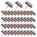 Flying swallow 50 Pieces Furniture Pad Nails 24 mm Brown Nail-on Slider Glide