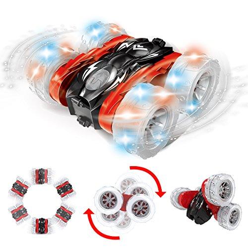 Remokids RC Autos Ferngesteuertes Elektrisches spielzeugs,Remote Control Autos Whit mit leistungsstarken LED,2,4 GHz,360 Flip,2 Seiten Laufen,15MPH, Off-Road-Fahrzeug, Gut für Kinder, Stunt-Auto