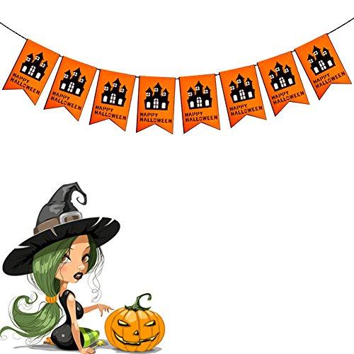 Nikgic Halloween Kürbis Party Flagge Dreieckige Flagge Banner kleine Wimpel für Halloween Dekoration Zubehör 250cm lang (Zimmer) (Beängstigend Diy Halloween Requisiten)