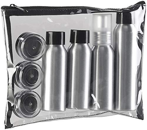 Sichler Beauty Reise-Flaschen Kosmetik: Reise-Reißverschluss-Tasche mit 7 Alu-Behältern fürs Reisegepäck (Fläschchen) -