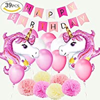 Yansion Unicorn Party Decoration Supplies, Set de cumpleaños con 1 HAPPYBIRTHDAY Banner, 2pcs Enorme unicornio globos, 30 globos, 6 flores de papel, Girls Boy Kids adultos fiesta de cumpleaños decoración de la boda.