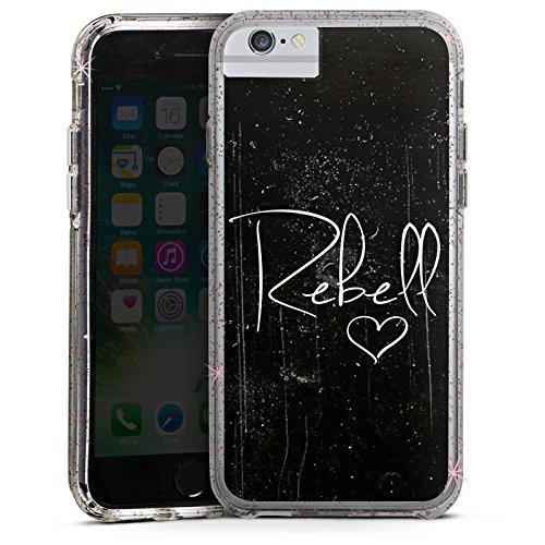 Apple iPhone 7 Bumper Hülle Bumper Case Glitzer Hülle Rebel Rebell Sprüche Bumper Case Glitzer rose gold