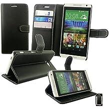 Emartbuy® HTC Desire 610 Funda Wallet Soporte de Sobremesa Carcasa Case Cover PU Cuero Alta Calidad para Negro con Tarjeta de Crédito Slots