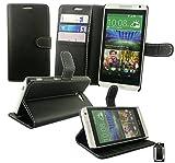Emartbuy HTC Desire 610 Portefeuille Étui Coque Case Cover Premium Cuir PU Noir avec Carte de Crédit Slots et Support