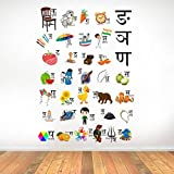 Rawpockets 'Hindi Alphabets' Wall Sticker (PVC Vinyl, 1 cm x 75 cm x 105 cm), Multicolour