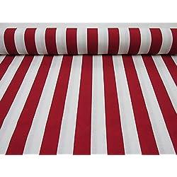 Rojo, Blanco, Tela a rayas–Sofia cortina de rayas tela de 140cm de ancho (se vende por metros)