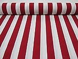 Rot Weiß gestreiftem Stoff–Sofia Streifen Vorhang