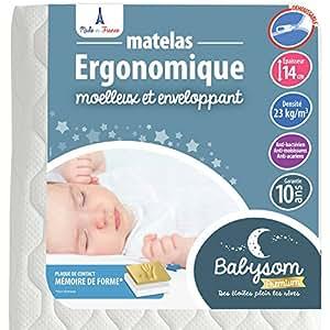 Babysom - Matelas Bébé Ergonomique - 60x120cm - Epaisseur 14cm - Déhoussable - Anti acarien - Contact Mémoire de forme