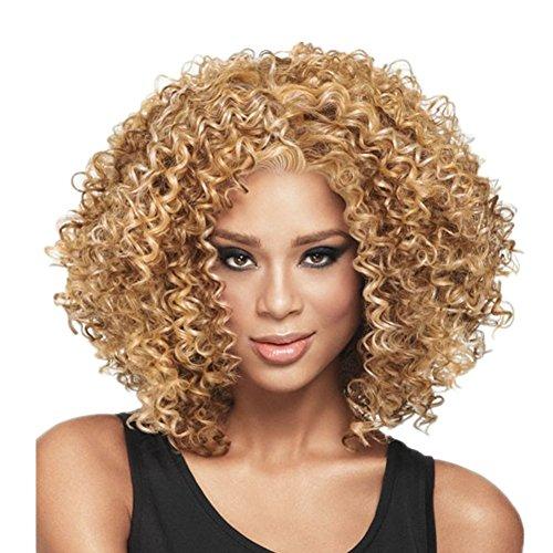 L-peach afro riccia fitti capelli parrucca ondulata naturale da donna per il travestimento partito cosplay halloween natale