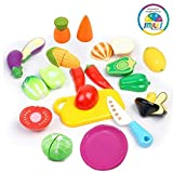 #8: Smiles Creation Realistic Sliceable Fruits Cutting Play Toy Set with Velcro for Kids