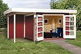 Weka 126.3024.43101 Designhaus 126 A Gr.2, schwedenrot, 28 mm, DT, Anbau 150 cm, ohne RW Außemmaß:500 x 314 x 226