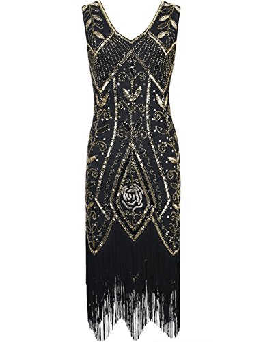PrettyGuide Women 1920s Inspired Art Deco Sequin Fringed Cocktail Flapper Dress