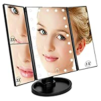 22 LED Light Mirror Make Up Mirror With 2X 3X Magnifying Dressing Table Makeup Mirror, 3X/2X Magnifying Trifold Vanity Mirror with 22 LED Lights, 180° Rotation Touch Screen Cosmetic Mirrors-Black