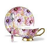 Panbado 200 ml Kaffeetasse mit Untertasse und Löffel aus Fein Bone China Porzellan für Kaffeeservice