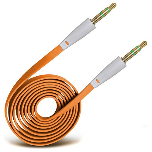 ( Orange ) Huawei Ascend Y540 Hülle Abdeckung Cover Case schutzhülle Tasche Custom Made 3,5 mm Klinke auf Buchse 1 m langes, flaches Musik AUX Auxiliary Audio Kabel von ONX3®