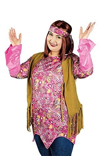 Plus Size Damen Kostüm 60er Jahre Hippie Karneval Fasching (60er Kostüme Plus Size Jahre Hippie)