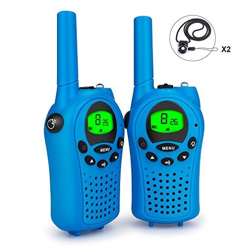 Debonice 2 Piezas Niños Walkie Talkie 446MHz 8 Canales 0.5W LCD Pantalla VOX y Linterna Incorporado (azul)