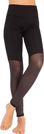 CALZITALY Leggings Sport Donna | Leggings Sportivi con Trasparenza per Fitness, Yoga, Palestra, Pilates | Pantaloni Elasticizzati Sport con Inserto Microrete | Nero | XS, S, M, L, XL | Made in Italy