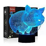 Hexie, LED-Nachtlicht in 7 wechselnden Farben, mit Smart-Touch-Taste, 3D-Illusion, Nachttischlampe, Beleuchtung, Schlaflicht, pfiffiges Geschenk, kreative Dekoration, Kunsthandwerk (Schwein)