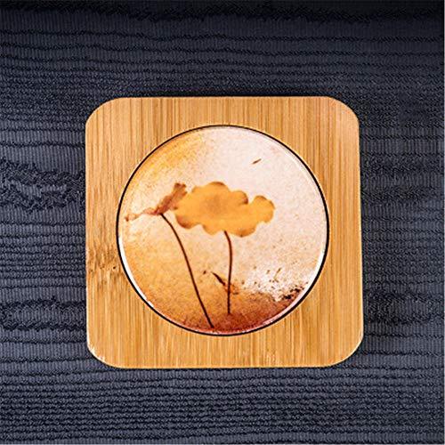 ZCHPDD Porte-Tasse À Thé En Bambou Coupe Céramique Isolant Pad Tapis De Thé Peint Thé Tapis Kung Fu Ensemble De Thé Accessoires Coaster De Verre Pattern 04 7.9 * 7.9 * 1.2Cm*2Pcs -