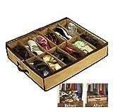 Organizador de zapatos 12 pares | Guarda zapatos de gran capacidad | Almacenaje de zapatos | Porta zapatos de tela (63x50x12 cm.) | Zapatero bajo cama