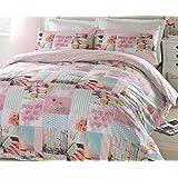 # Ropa de cama Pretty Pastel Patchwork estilo único edredón colcha ropa de cama juego de cama rosa niñas Reversible