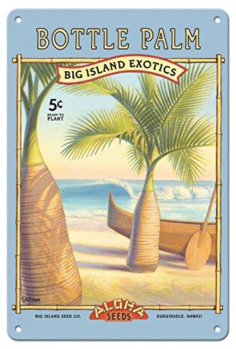Pacifica Island Art 22cm x 30cm Vintage Metallschild - Flaschenpalme - Aloha Samenkörner - Big Island Saatgut-Unternehmen - Die Exoten des Big Island - Vintage Retro Saatpaket von Kerne Erickson