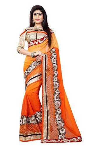 MANSVI FASHION Women's Georgette Saree (Orange)