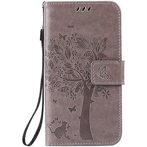Tiga Shopping Case Cover Unico Goffratura Design Technology Telefono per Samsung Galaxy A5 2016 Portafoglio Supporto(Grigio)