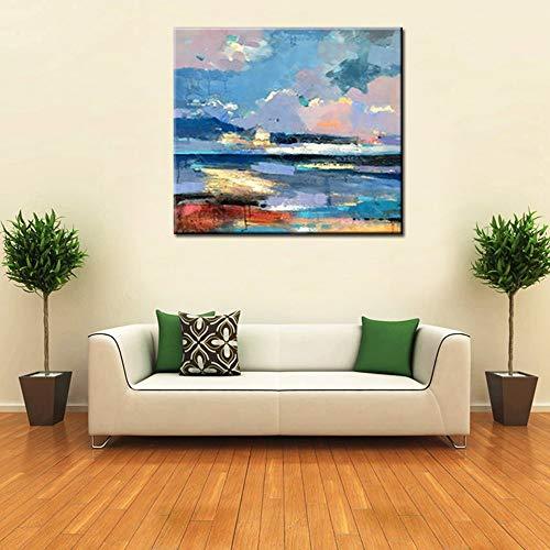 XIAOXINYUAN 100% Pintado A Mano Pintura Al Óleo Paisajes Abstractos Moderno Arte De Pared De Fotos Hechas A Mano para La Decoración del Hogar Salón De 50×50Cm.