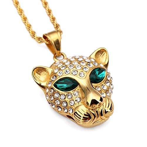 nyuk Hip Hop ciondolo e catena in acciaio al titanio leopardo Unisex Collana in oro, Lega, colore: Large size, cod. LC0013 - 14k Oro Jade Stud