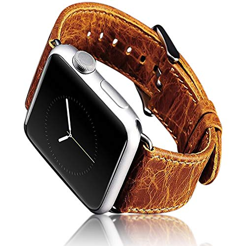iPure New Apple Watch Strap 42mm/44mm, Luxury Genuine Leather WatchBand Stainless Steel Buckle & Claps for iWatch Series 4/3/2/1 / Sport (Light Brown)