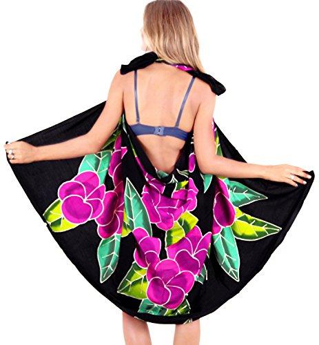 La Leela liscia rayon gonna spiaggia coprire ibisco Caraibi sarong 62x43 pollici Nero Rosa
