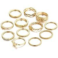 MSYOU 12 PCS Alloy Vintage Punk Ring Set Stacking Rings Cool Ring for Women Girls(Gold)