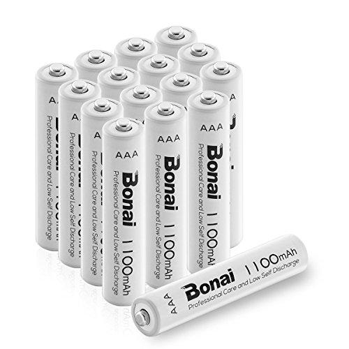 BONAI Pile Ricaricabili Mini Stilo AAA Alta Capacità 1100mAh Batterie Ni-MH 1200 cicli (confezione da 16)