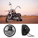 Delaman Frontscheinwerfer Motorrad Scheinwerfer Led 16 cm/6,5' für Harley Sportster Cafe Racer...