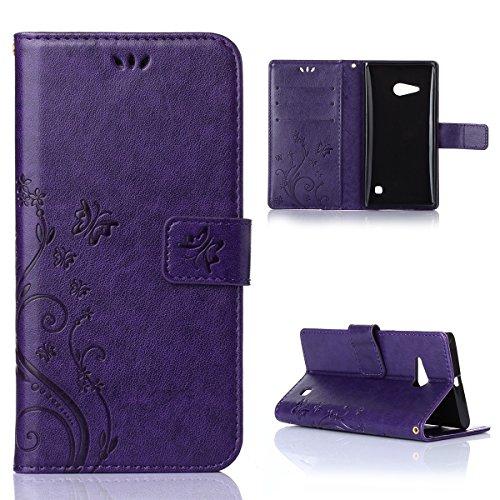 Nokia Lumia 730 735 Hülle, CaseFirst Lederhülle Stoßfest Handyhülle Geprägt Textur Ultra Dünn Schutzhülle Kratzfest Hülle Wallet Case mit Handy Halter und Card Slots (Lila)